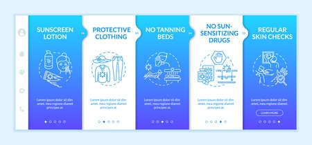 Skin cancer prevention onboarding vector template. Protective UPF clothes. Regular skin checks. Responsive mobile website with icons. Webpage walkthrough step screens. RGB color concept