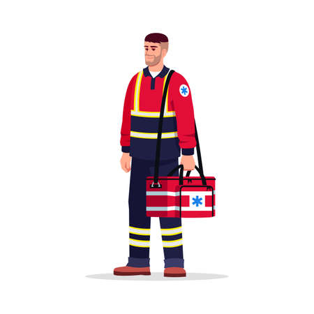 Emergency medical technician semi flat RGB color vector illustration. Health professional. Male paramedic. European man working as EMT with medical bag isolated cartoon character on white background Vektorové ilustrace