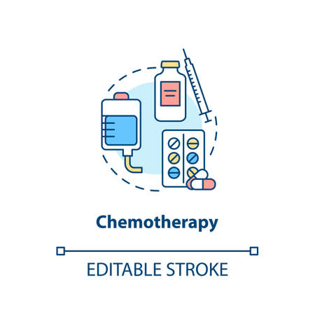 Chemotherapy concept icon. Anti cancer drugs. Intravenous chemotherapy idea thin line illustration. Vector isolated outline RGB color drawing. Editable stroke