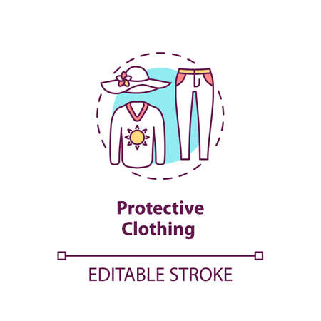 Protective clothing concept icon. Sun protection clothes. Ultraviolet protection factor idea thin line illustration. Vector isolated outline RGB color drawing. Editable stroke