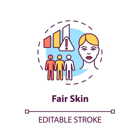 Fair skin concept icon. Epidermis. Melanoma risk factors. Ultraviolet radiation. Light skin idea thin line illustration. Vector isolated outline RGB color drawing. Editable stroke Иллюстрация