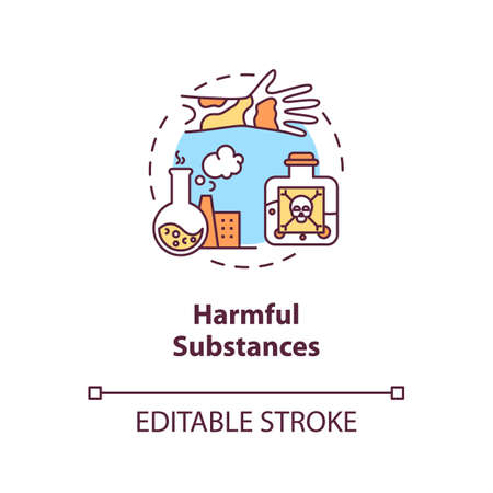 Harmful substances concept icon. Cancer risk factors. Poisons. Chemicals and hazardous substances idea thin line illustration. Vector isolated outline RGB color drawing. Editable stroke