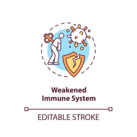 Weakened immune system concept icon. Immunodeficiency. Cancer risk factors. Immune system disorders idea thin line illustration. Vector isolated outline RGB color drawing. Editable stroke Иллюстрация