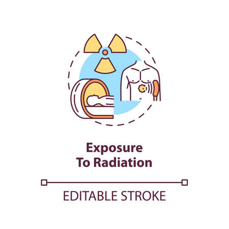 Exposure to radiation concept icon. Cancer risk factors. Poisoning. Ultraviolet. Ionizing radiation idea thin line illustration. Vector isolated outline RGB color drawing. Editable stroke Иллюстрация