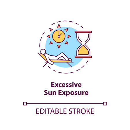 Excessive sun exposure concept icon. Danger of tanning and sunbathing. Sunstroke. UV light idea thin line illustration. Vector isolated outline RGB color drawing. Editable stroke