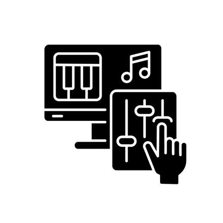 DIY music black glyph icon. Professional composer. Computer software for musical arrangement. Record audio. Write and play mp3. Silhouette symbol on white space. Vector isolated illustration