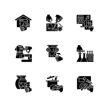 Handicraft black glyph icons set on white space. Home renovation. Electrical project. Music production. Fashion industry. Science and chemistry. Silhouette symbols. Vector isolated illustration Vektorgrafik