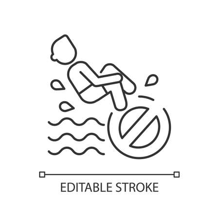 No bomb jumping linear icon. Waterpark safety thin line customizable illustration. Contour symbol. Restriction for public swimming pools visitors. Vector isolated outline drawing. Editable stroke