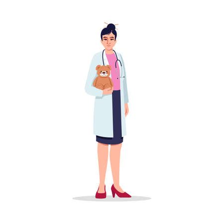 Pediatrician semi flat RGB color vector illustration. Children care doctor. Medical staff. Young chinese woman working as pediatrician isolated cartoon character on white background