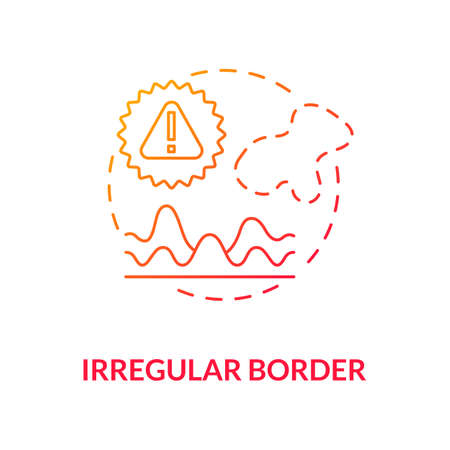 Irregular border concept icon. Atypical mole borders. Diagnostics. Skin cancer diagnostics. Melanoma symptoms and signs idea thin line illustration. Vector isolated outline RGB color drawing
