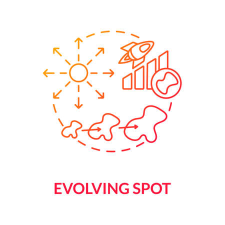 Evolving spot concept icon. Melanoma diagnostics. Skin cancer warning symptomes. Changing color, size and shape mole idea thin line illustration. Vector isolated outline RGB color drawing