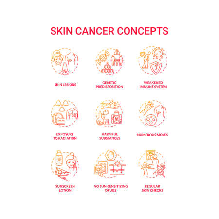 Skin cancer concept icons set. No sun sensitizing drugs. Exposure to radiation. Genetic predisposition. Melanoma idea thin line RGB color illustrations. Vector isolated outline drawings