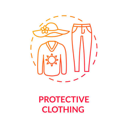Protective clothing concept icon. Carcinoma. Dermatology. Sun protection clothes. UV protection. Melanoma prevention idea thin line illustration. Vector isolated outline RGB color drawing