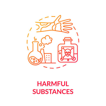 Harmful substances concept icon. Dangerous chemical. Oncology risk factors. Dermatology. Hazardous substances idea thin line illustration. Vector isolated outline RGB color drawing