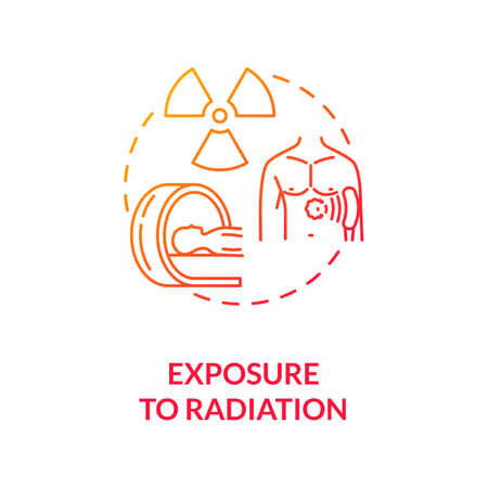 Exposure to radiation concept icon. Cancer risk factors. Ultraviolet. Skin cancer treatment and therapies. Ionizing radiation idea thin line illustration. Vector isolated outline RGB color drawing Иллюстрация