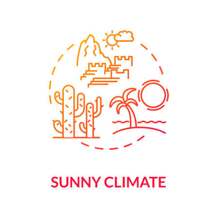 Sunny climate concept icon. Warm environment. Sunny temperature and heat. Tropical climate. Summer holidays idea thin line illustration. Vector isolated outline RGB color drawing