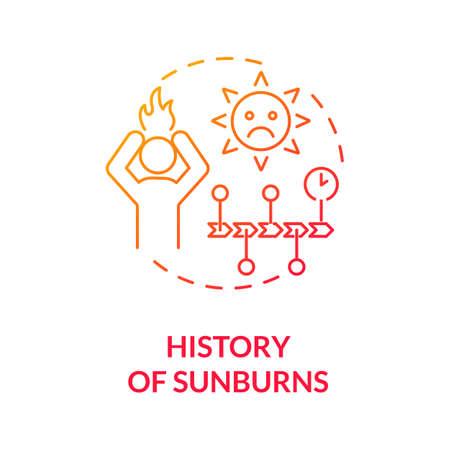 History of sunburns concept icon. Skin cancer risk factors. Ultraviolet radiation burn. Excessive sun exposure. Sunburned skin idea thin line illustration. Vector isolated outline RGB color drawing Ilustración de vector