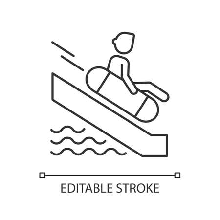 Sliding on swim circle linear icon. Water park, aquapark attraction thin line customizable illustration. Contour symbol. Tourist on waterslide vector isolated outline drawing. Editable stroke