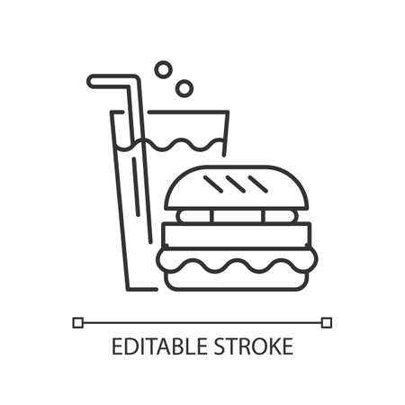 Fast food linear icon. Eating area in water park thin line customizable illustration. Contour symbol. Takeout service. Fizzy drink and hamburger vector isolated outline drawing. Editable stroke