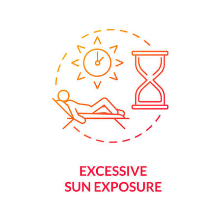 Excessive sun exposure concept icon. Heatstroke. Danger of sunbathing. Sunstroke. Cancer risk factors. UV light idea thin line illustration. Vector isolated outline RGB color drawing Иллюстрация