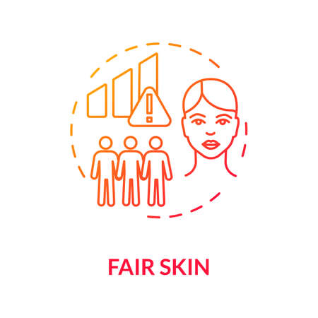 Fair skin concept icon. Melanoma risk factors. Ultraviolet radiation. Cancer prevention. Dermatology. Caucasian skin idea thin line illustration. Vector isolated outline RGB color drawing