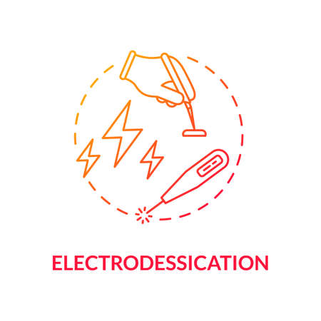 Electrodessication concept icon. Skincare procedures. Dermatology. Laser surgery. Melanoma. Skin tag removal idea thin line illustration. Vector isolated outline RGB color drawing