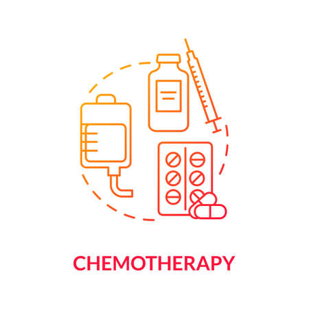Chemotherapy concept icon. Anti cancer drugs. Skin cancer treatment. Cancerous tumor. Intravenous chemotherapy idea thin line illustration. Vector isolated outline RGB color drawing