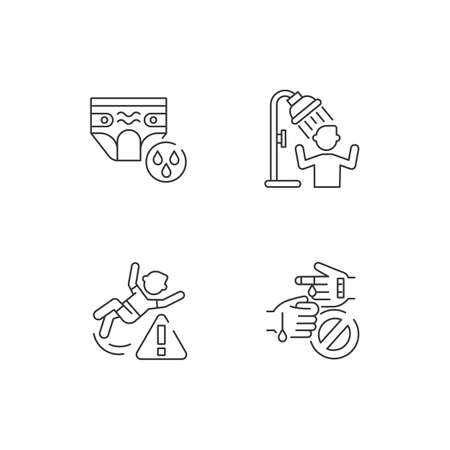 Aquapark recreation tips linear icons set. Swim diapers for kids, use shower, be careful customizable thin line contour symbols. Isolated vector outline illustrations. Editable stroke