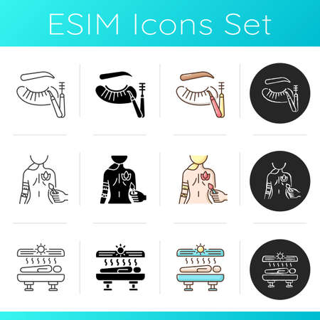 Beauty procedures icons set. Eyelash extensions. Body painting. Solarium. Indoor tanning and sunbathing. Lash making. Linear, black and RGB color styles. Isolated vector illustrations Illustration