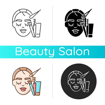 Brow art icon. Eyebrow lamination and tinting. Beauty salon. Semi permanent eyebrows makeup. Beauty procedures. Linear black and RGB color styles. Isolated vector illustrations