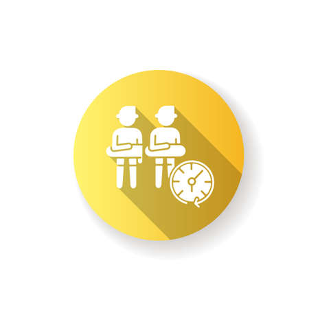 Keep distance yellow flat design long shadow glyph icon. Aqua park safety precaution, public place behaviour rule. Avoid close contact, health care advice. Silhouette RGB color illustration
