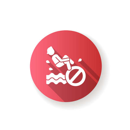 No bomb jumping red flat design long shadow glyph icon. Waterpark safety regulation, aqua park behaviour rule. Restriction for public swimming pools visitors. Silhouette RGB color illustration
