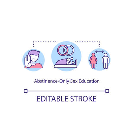 Abstinence only education concept icon. No between girlfriend and boyfriend. Sexual education idea thin line illustration. Vector isolated outline RGB color drawing. Editable stroke Vektoros illusztráció
