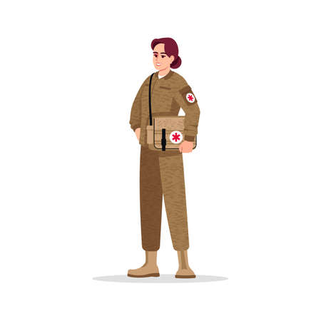 Military doctor semi flat RGB color vector illustration. Military surgeon. Noncombatant doctor. Young caucasian woman working as combat medic isolated cartoon character on white background