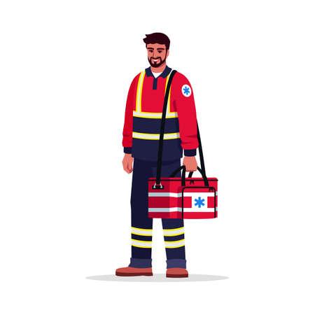 Paramedic semi flat RGB color vector illustration. EMT. Male emergency medical technician. Hispanic man working as EMT with medical bag isolated cartoon character on white background Ilustração Vetorial