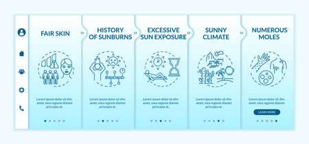 Skin cancer risk factors onboarding vector template. Fair skin. Numerous moles. Sunny climate. Responsive mobile website with icons. Webpage walkthrough step screens. RGB color concept