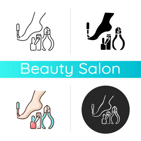 Pedicure icon. Nail polish. Beauty procedures. Tools for nails treatment. Beauty parlor services. Cosmetology. Linear black and RGB color styles. Isolated vector illustrations