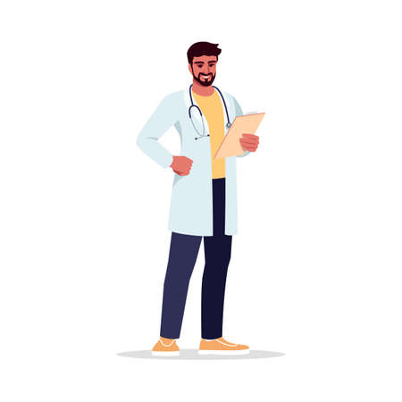 General practitioner semi flat RGB color vector illustration. Primary care physician. PCP. Young hispanic man working as medical doctor isolated cartoon character on white background