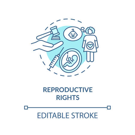 Reproductive rights concept icon. Childbirth legislation idea thin line illustration. Legal regulations and freedoms of reproduction. Vector isolated outline RGB color drawing. Editable stroke