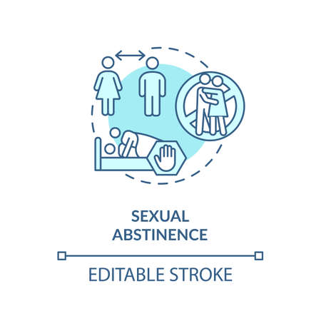 Sexual abstinence concept icon. Refusal skills, restraint from idea thin line illustration. Sexually transmitted infections prevention. Vector isolated outline RGB color drawing. Editable stroke