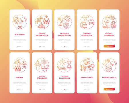 Skin cancer onboarding mobile app page screen with concepts set. Numerous moles. Harmful substances. Walkthrough 5 steps graphic instructions. UI vector template with RGB color illustrations