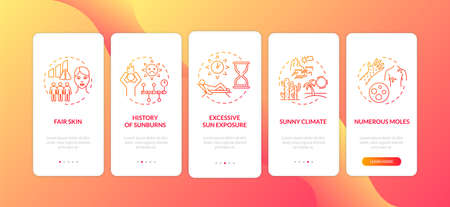 Skin cancer risk factors onboarding mobile app page screen with concepts. Fair skin. Sunny climate. Walkthrough 5 steps graphic instructions. UI vector template with RGB color illustrations