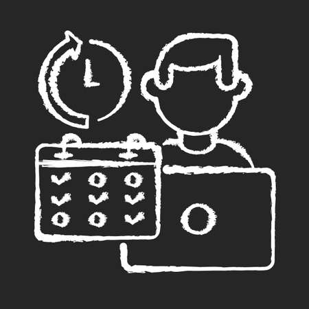 Part time job chalk white icon on black background. Professional occupation, time management. Shift work, flexible schedule. Office worker with calendar isolated vector chalkboard illustration