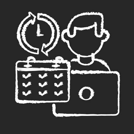 Full time job chalk white icon on black background. Work in business company, busy working schedule. Full employment. Corporate office worker with calendar isolated vector chalkboard illustration Vectores
