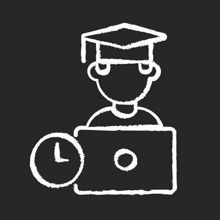 Remote education chalk white icon on black background. Online training courses, e learning. Distant vocational education. Internet business school graduate isolated vector chalkboard illustration