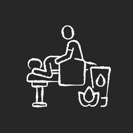 Massage chalk white icon on black background. Spa center. Massage therapy. Wellness studio. Therapist. Traditional thai and indian treatment. Isolated vector chalkboard illustration