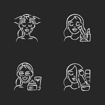 Women beauty procedures chalk white icons set on black background. Facial and chin exercises. Skincare routine products. Face cosmetics. Makeup. Face yoga. Isolated vector chalkboard illustrations