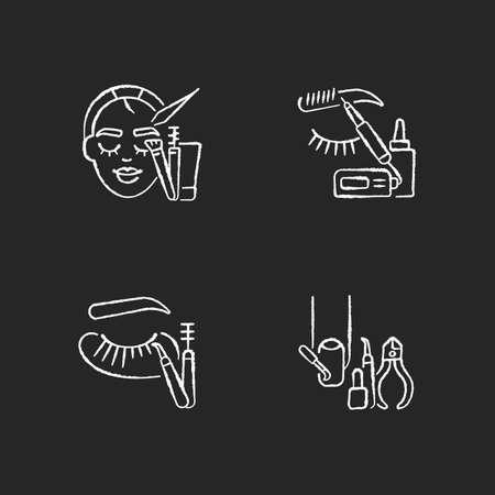 Face care chalk white icons set on black background. Manicure. Microblading. Eyelash extension. Nail varnish. Eyebrow lamination. Beauty procedure. Isolated vector chalkboard illustrations