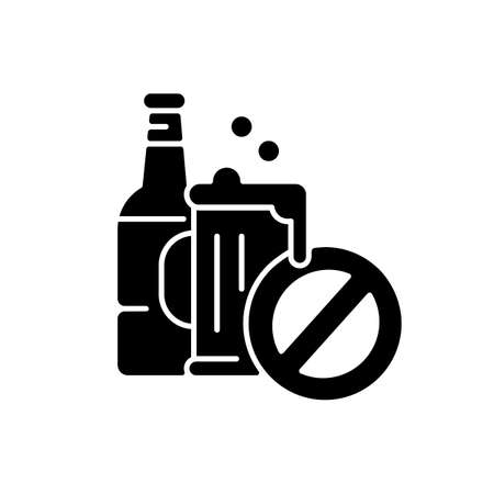 No alcohol black glyph icon. Water park, entertainment area safety rule. Drinking restriction silhouette symbol on white space. Beer pint and bottle with stop sign vector isolated illustration