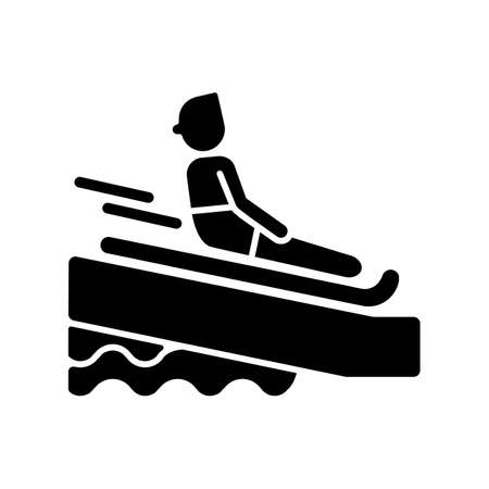 Swimming mat black glyph icon. Waterslide riding rules, aqua park entertainment silhouette symbol on white space. Active recreation. Tourist sliding on inflatable mattress vector isolated illustration